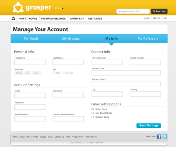 grosper manage your account